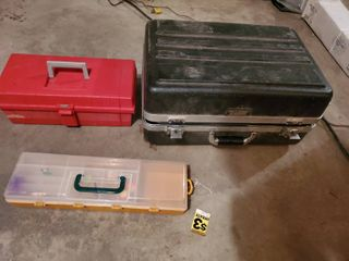lot of 2 Toolboxes and 1 Tackle Box  Tolls Included   Vintage Platt and More