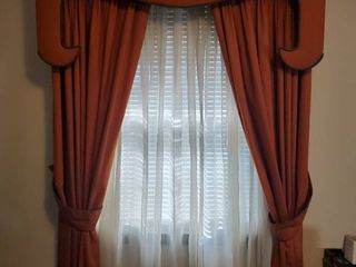 MCM Burnt Orange Single Window Panels 2 Panels   Overhead Cover with Hardware