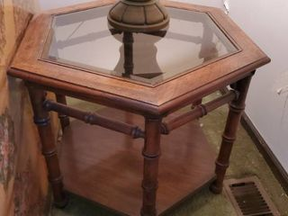 Hexagon Glass Top MCM Wooden Side Table