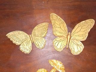 lot of 3 Homco Plastic Wall Hanging Decorations Butterflies and Mushroom