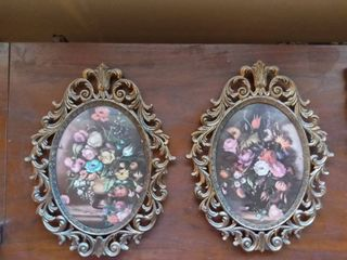 lot of 2 Metal Framed Pictures of Floral Arrangements Mid Century Modern Style