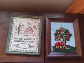 lot of 2 Snead Crochet Crafted Framed Photos