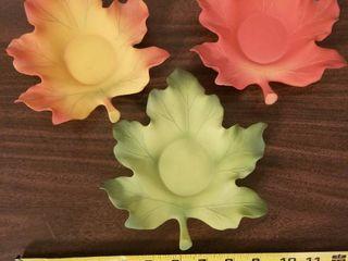 Set of Three Fall leaves Tea Candle Holders
