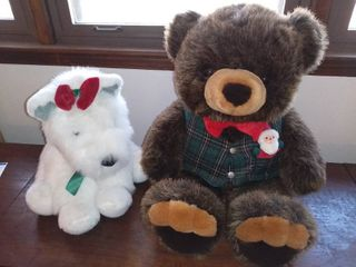 lot of 2 Holiday Christmas Themed Stuffed Animals JC Penny Commonwealth