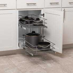 Simply Put 14 in W x 19 1875 in 2 Tier Pull Out Metal Soft Close Cabinet Organizer