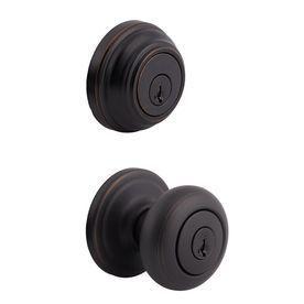 Kwikset Juno Venetian Bronze Smartkey Keyed Entry Door Knob Double Cylinder Deadbolt Combo Pack