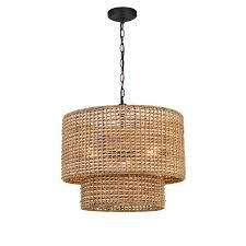 allen and roth data pendent black finish natural ratten shade