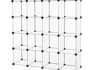 Songmics  Plastic Cube Storage Steckregal  16 Cubes Shoe Rack Gray