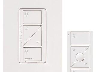 lutron P PKG1W WH Caseta Wireless 600 watt 150 watt Multi location In Wall Dimmer with Pico Remote Control Kit  White