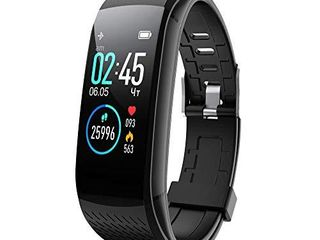 Walkercam  Fitness Tracker Heart Rate Monitor  Sleep Monitoring  Step Calorie Counter Pedometer for Men and Woman  Black