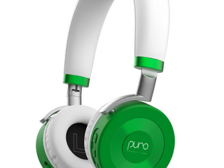 JuniorJams Volume limiting Headphones for Kids 3  Protect Hearing Foldable   Adjustable Bluetooth Wireless Headphones for Tablets  Smartphones  PCs Aaa 22 Hour Battery life by Puro Sound labs  Green