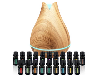 Pure Daily Care Aromatherapy Bundle   Ultrasonic Diffuser  18 Essential Oils
