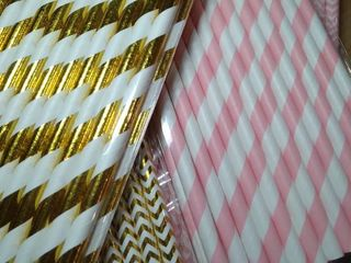 Alink  Gold  Pink Paper Straws With Wave Strip Design  Pack Of 100