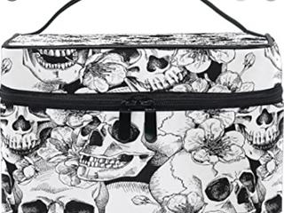 Black And White Skull Flower Print Makeup Bag
