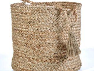 lR Home Natural Jute   19  X 19  X 19  Montego Solid Decorative Storage Basket