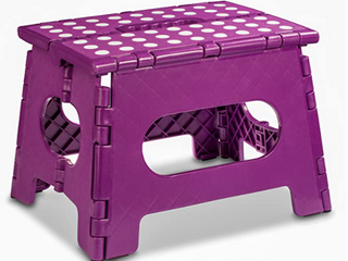 Folding Step Stool   The lightweight Step Stool is Sturdy Enough to Support Adults and Safe Enough for Kids  Opens Easy with One Flip  Great for Kitchen  Bathroom  Bedroom  Kids or Adults   Purple
