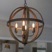 Mason Metal and Wood 4 light Orb Pendant  Retail 172 49