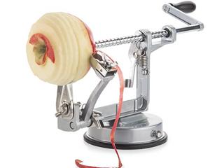 Apple Peeler  Slicer  Corer And Spiralizer With Sturdy Suction Base  Sleek Grey