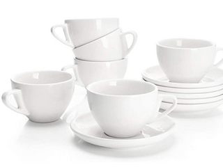 Sweese Set of 6 Coffee Cups And Saucers  White