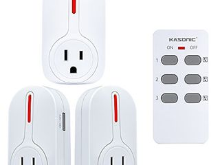 Wireless Remote Control Outlet  Kasonic Smart Home Remote Control Multi Purpose Combo Set  3 Electrical Outlets   1 Remote  Perfect for Household Appliances and Devices  ETl listed