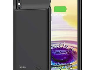 OMEETIE Battery Case for iPhone Xs Max  5000mAh Slim Portable Rechargeable Charging Case Compatible with iPhone Xs Max 6 5 inch  Protective Charger Case  Black