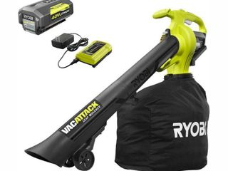 RYOBI 40 Volt lithium Ion Cordless leaf Vacuum Mulcher with 4 0 Ah Battery and Charger Included
