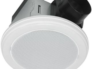 Home Netwerks Decorative White 80 CFM Ceiling Mount Bluetooth Stereo Speaker Bathroom Exhaust Fan with lED light