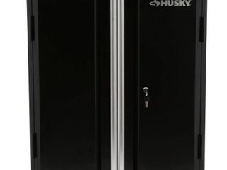 Husky 32 8 in  H x 28 in  W x 18 in  D 2 Door Steel Garage Base Cabinet  Smooth glossy black powder coating