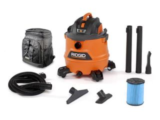 RIDGID 16 Gal  6 0 Peak HP NXT Wet Dry Shop Vacuum with Fine Dust Filter  Hose  Accessories and Backpack Cooler  Oranges Peaches