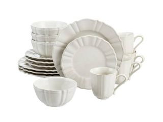 Home Decorators Collection Aubrey 16 Piece Ivory Stoneware Dinnerware Set  Service for 4