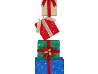 Home Accents Holiday 4 5 ft Yuletide lane lED Stacked Gift Box Set