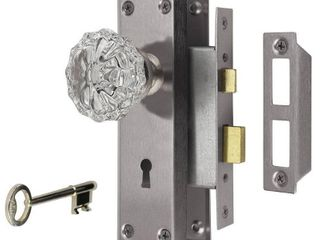 Defiant 2 in  Satin Nickel Victorian Glass Knob Mortise Set
