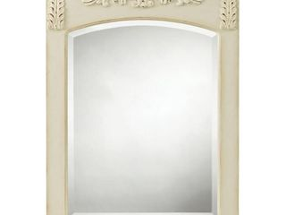 Home Decorators Collection 18 9 in  W x 24 9 in  H Framed Rectangular Bathroom Vanity Mirror in Antique White