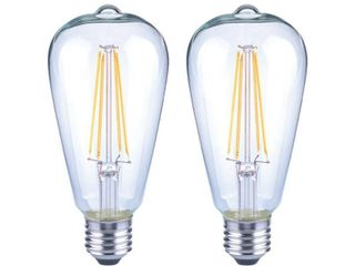EcoSmart 40 Watt Equivalent ST19 Dimmable Clear Glass Filament Vintage Edison lED light Bulb Soft White  Qty  2 of  2 Pack