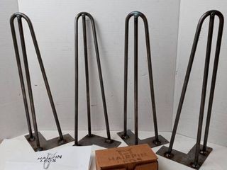 1 2 in  Dia 16 in  Mid Century Modern Raw Steel Hairpin Table legs   4 Pack