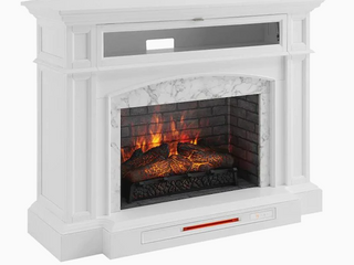 52 5 in W White Infrared Quartz Electric Fireplace