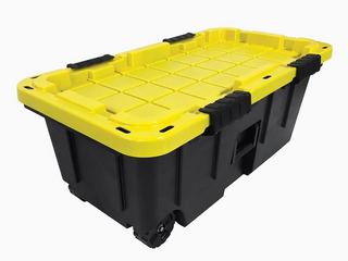 COMMANDER 20 Gallon  80 Quart  Black and Yellow Footlocker with latching lid