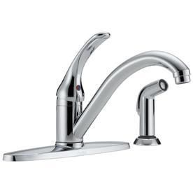 Delta Classic Chrome low Arc Kitchen Faucet with Side Spray