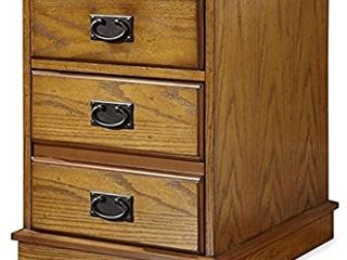 Home Styles Modern Craftsman Oak Mobile File with Distressed Oak Finish  Poplar Solids  New Age Brown Metal Accents  One Storage Drawer  One File Drawer  and Hidden Recessed Casters DAMAGED