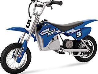 Razor MX350 Dirt Rocket Electric Motocross Off road Bike for Age 13  Up to 30 Minutes Continuous Ride Time  12  Air filled Tires  Hand operated Rear Brake  Twist Grip Throttle  Chain driven Motor