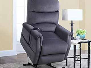 Divano Roma Furniture Classic Plush Bonded leather Power lift Recliner living Room Chair     Grey   Not Inspected