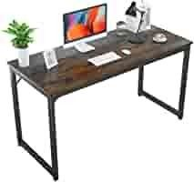 Foxemart 55 Inch Computer Desk Modern Office Table  Sturdy 55a PC laptop Writing Gaming Study Desk for Home Office Workstation  Rustic Brown and Black