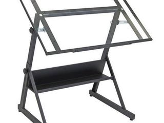 Studio Designs Solano Height Adjustable Drawing Table in Charcoal Black   Clear Glass