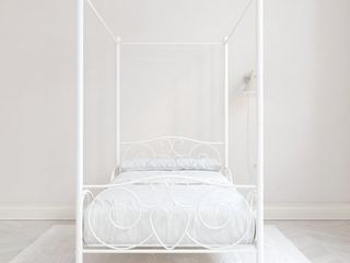 DHP Canopy Metal Bed  Twin  White