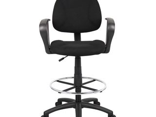 Drafting Stool with Footring And loop Arms Black   Boss Office Products