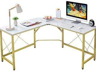 Mr IRONSTONE l Shaped Desk 59  Computer Corner Desk  Home Gaming Desk  Office Writing Workstation  Space Saving  Easy to Assemble White Marble
