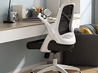 Hbada Office Task Desk Chair Swivel Home Comfort Chairs with Flip up Arms and Adjustable Height  White
