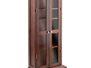 Wood and Glass DVD   CD Cabinet  Walnut   Not Inspected