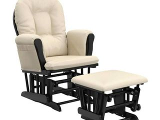 Storkcraft Bowback Hoop Glider and Ottoman Black with Beige Cushions  APPEARS TO BE MISSING SOME CUSHIONS