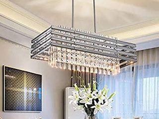 TZOE Dining Room Chandelier Modern Rectangle Pendant light Crystal Chandelier l29 1  x W11 4  x H48 5 6 light  Adjustable Height Polished Chrome Ul listed